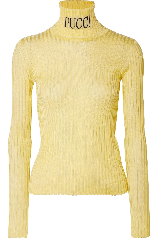 Emilio Pucci Intarsia ribbed-knit turtleneck sweater