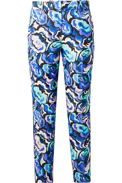 EMILIO PUCCI Velvet-Trimmed Wool And Silk-Blend Twill Slim-Leg Pants in Blue