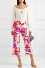 Fringed printed silk-twill wide-leg pants