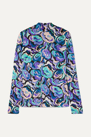 Printed silk-blend satin blouse