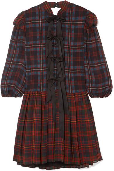 BOW-DETAILED TARTAN CHIFFON MINI DRESS