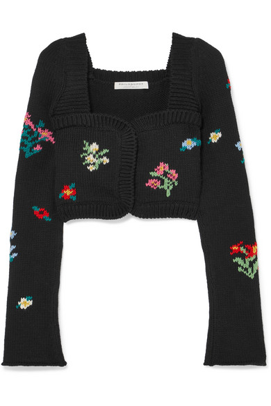 Cropped Wool And Wool Blend Cardigan by Philosophy Di Lorenzo Serafini