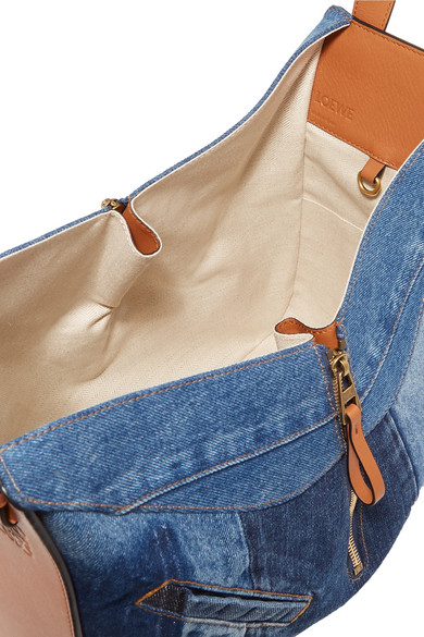 Hammock 牛仔布纹理皮革中号单肩包展示图