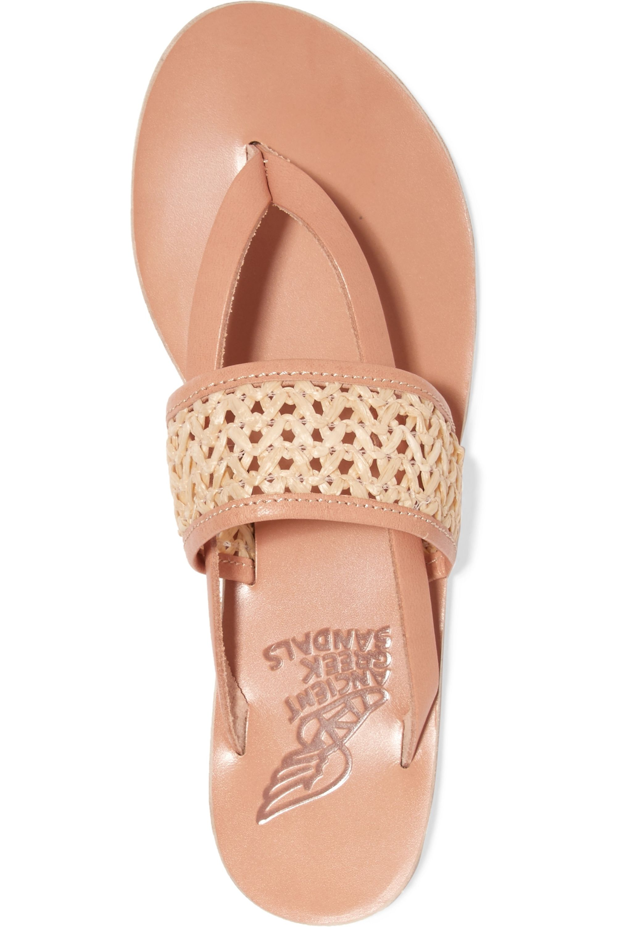 Ancient Greek Sandals Zenobia woven raffia and leather sandals