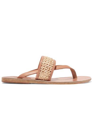 7f2192a7d73 Ancient Greek Sandals. Zenobia woven raffia and leather sandals