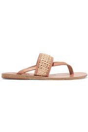 Zenobia woven raffia and leather sandals