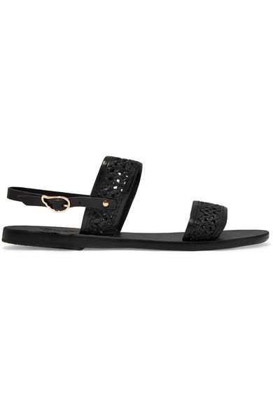 819867882476ba Ancient Greek Sandals. Dinami woven raffia and leather slingback sandals
