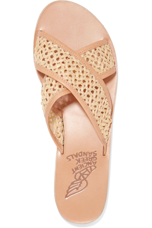 Ancient Greek Sandals Thais Pantoletten aus geflochtenem Raffiabast und Leder