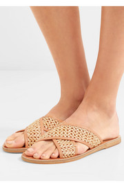 Thais woven raffia and leather slides