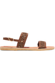 Dinami woven raffia and leather slingback sandals
