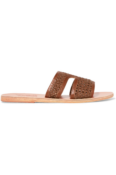 Apteros Woven Raffia And Leather Slides, Brown