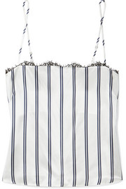 Striped lace-trimmed silk-charmeuse camisole