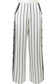 Striped silk-charmeuse wide-leg pants