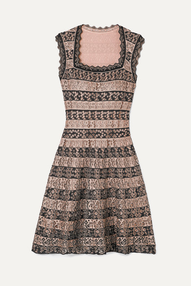 52d33bc1397 AlaÏA Laser-Cut Stretch-Knit Mini Dress