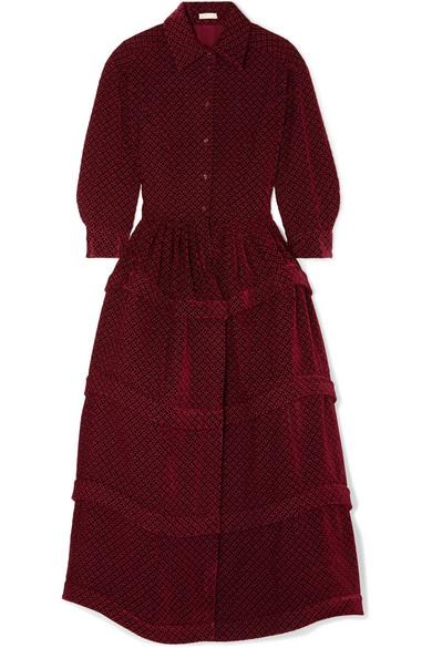 129b5829b55 Alaïa. Ruffled embroidered velvet midi dress