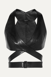 Alaïa Leather wrap bra top
