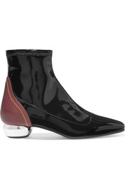 Ellery Smooth and patent-leather ankle boots
