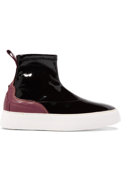 ELLERY TWO-TONE PATENT AND MATTE-LEATHER HIGH-TOP SNEAKERS