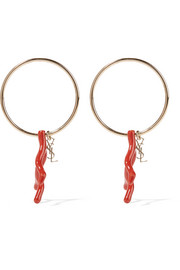 Saint Laurent Gold-tone and faux coral hoop earrings