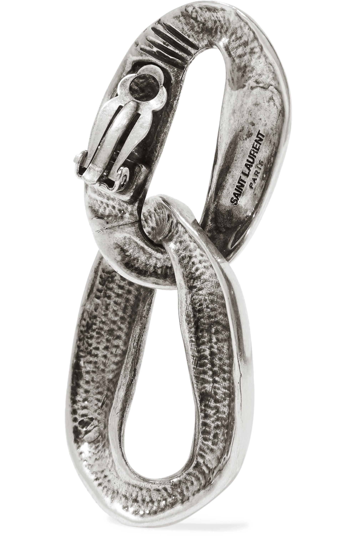 SAINT LAURENT Silver-tone clip earrings