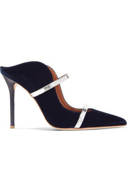 Maureen 100 metallic leather-trimmed velvet mules