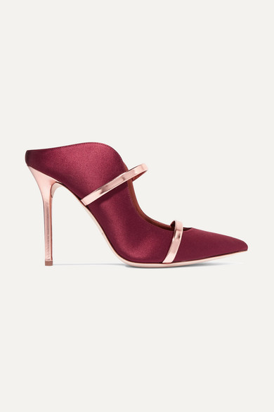 Maureen 100 Metallic Leather Trimmed Satin Mules by Malone Souliers By Roy Luwolt