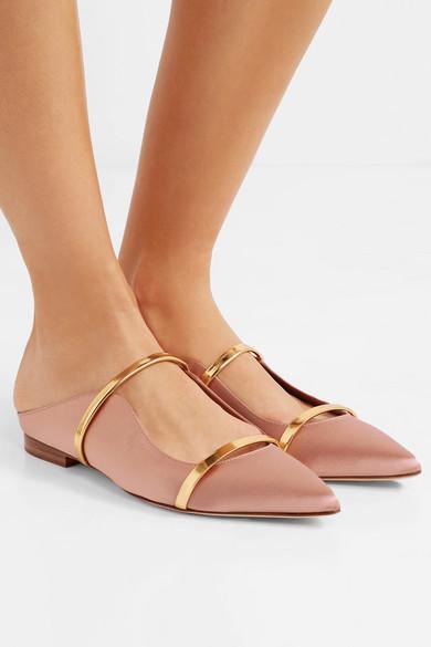 prix de la rue moins cher Clairance de 60% Chaussures plates à bouts pointus en satin et en cuir métallisé Maureen