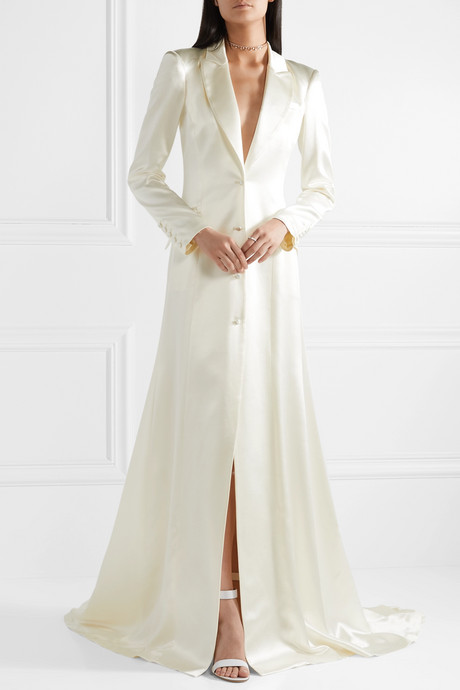 Jean silk and wool-blend satin coat