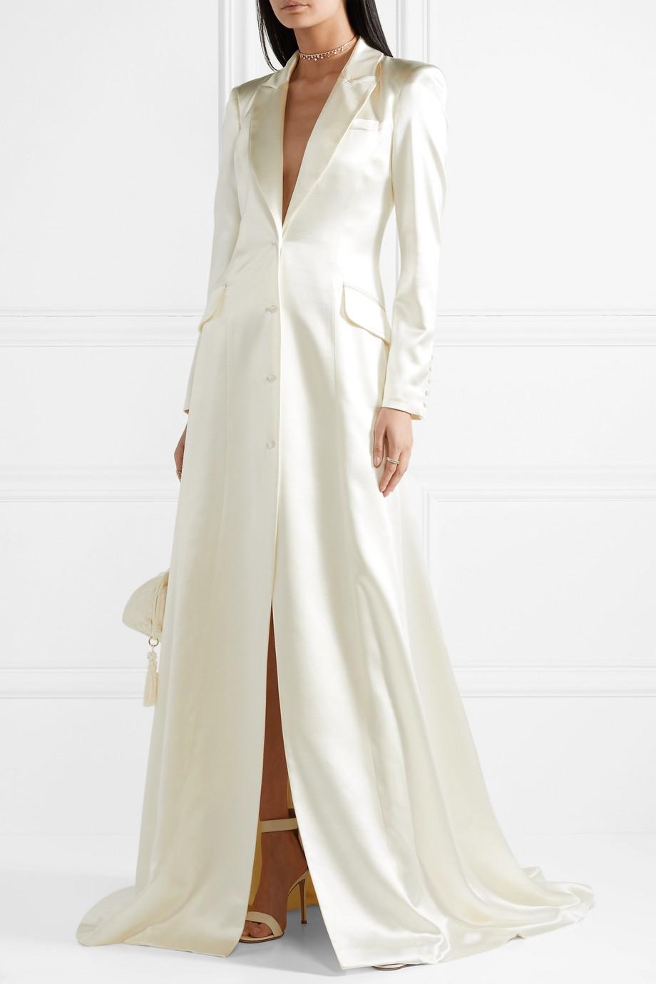 Danielle Frankel Jean silk and wool-blend satin coat