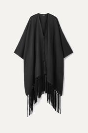 Saint Laurent Fringed leather-trimmed cashmere cape