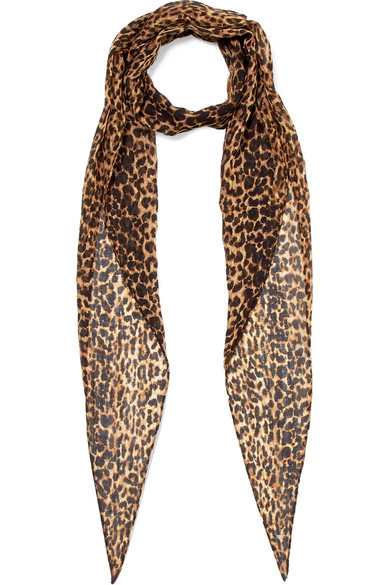 Saint Laurent - Leopard-print Wool-jersey Scarf - Leopard print