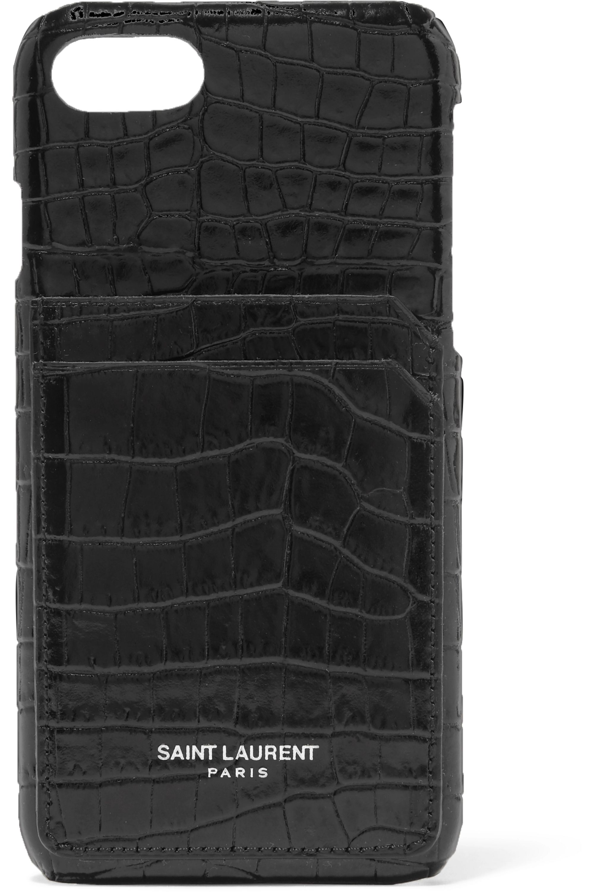 SAINT LAURENT Croc-effect leather iPhone 8 case
