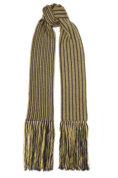 SAINT LAURENT FRINGED STRIPED METALLIC CROCHET-KNIT WOOL-BLEND SCARF