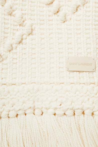 Saint Laurent Accessories Fringed embroidered wool scarf