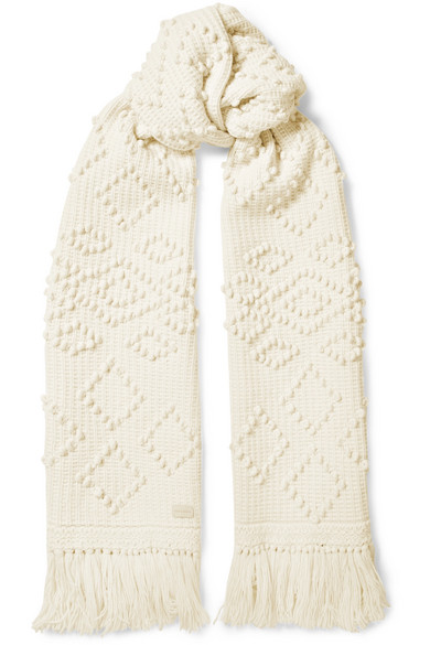 SAINT LAURENT FRINGED EMBROIDERED WOOL SCARF