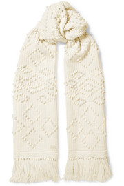 Fringed embroidered wool scarf