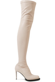 Stella McCartney Faux stretch-leather thigh sock boots