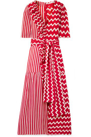 Stella McCartney Ruffle-trimmed printed silk-moire maxi dress
