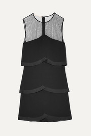 Stella McCartney Tulle-paneled tiered cady mini dress
