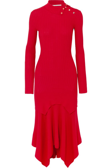 Asymmetric Ribbed Wool And Silk-Blend Dress in Red