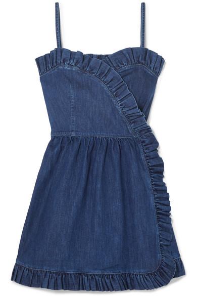 Ruffled Denim Wrap Mini Dress by Stella Mc Cartney