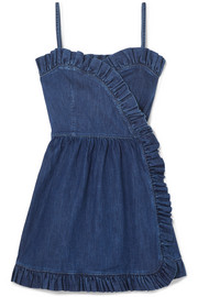 Stella McCartney Ruffled denim wrap mini dress