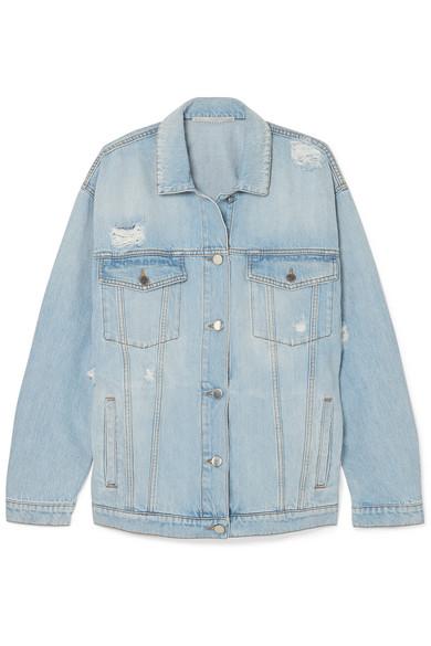 Oversized Distressed Denim Jacket in Blue