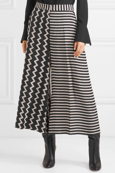 Printed Silk-moire Culottes - Black Stella McCartney l9HycG