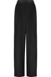 Metallic-trimmed silk crepe de chine wide-leg pants