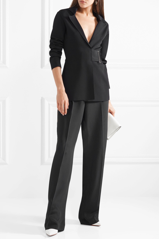 Stella McCartney Metallic-trimmed silk crepe de chine wide-leg pants