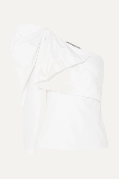 Outlet Pay With Paypal One-shoulder Bow-embellished Cotton-poplin Top - White Stella McCartney Discount Codes Clearance Store c2qDJg
