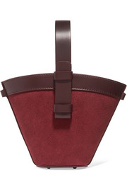 Nelia mini leather and suede bucket bag