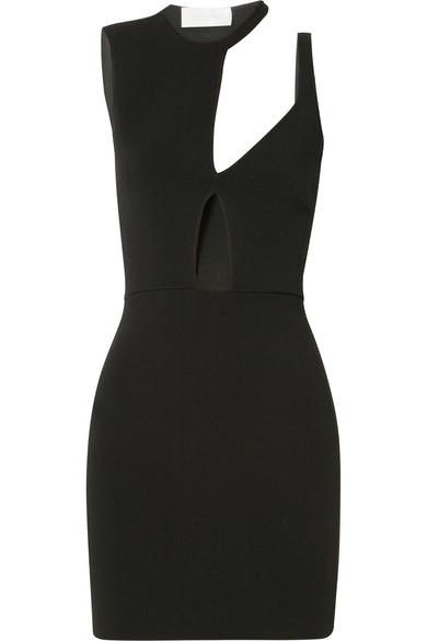 ESTEBAN CORTAZAR Capri Cutout Stretch-Knit Mini Dress in Black