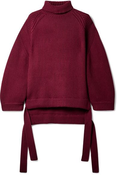 ELLERY Wallerian oversized tie-detailed wool-blend turtleneck sweater